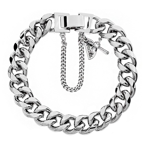 Cross Point Silver Chain Bracelet