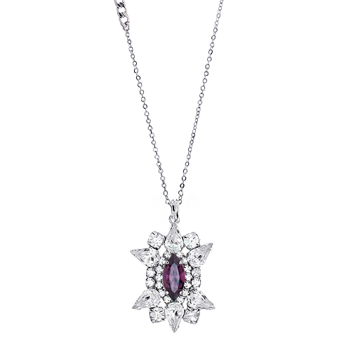 [롱목걸이]Crystal Sunburst Amethyst Necklace