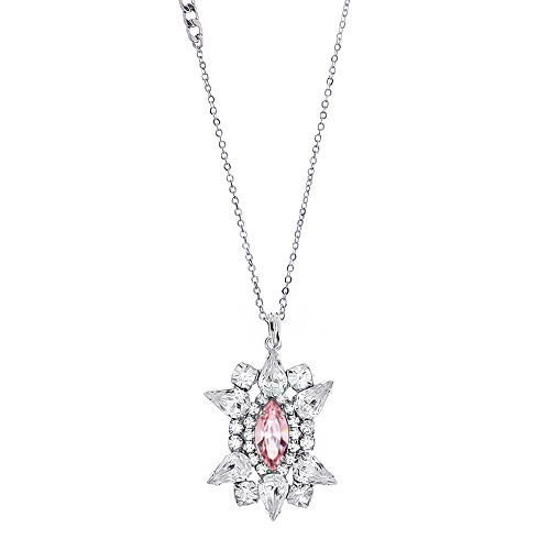 [롱목걸이]Crystal Sunburst Rose Necklace