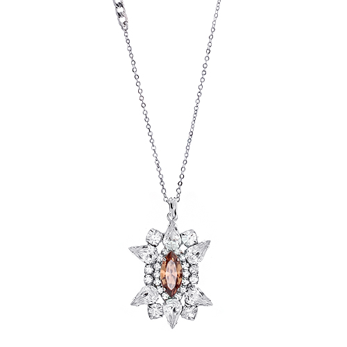 [롱목걸이]Crystal Sunburst Topaz Necklace