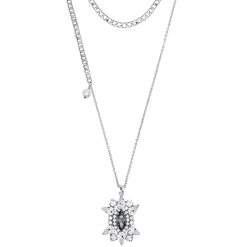 [롱목걸이]Crystal Sunburst Gray layered Necklace