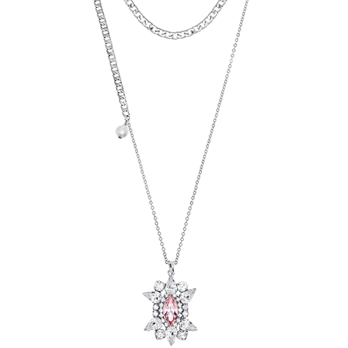 [롱목걸이]Crystal Sunburst Rose layered Necklace