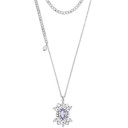 [롱목걸이]Crystal Sunburst Tanzanite layered Necklace
