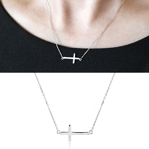 [925 Silver]Basic Cross Necklace