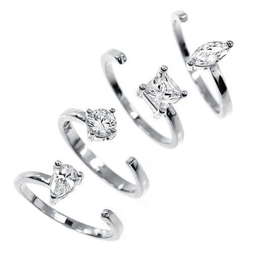 [4set] Four types Cubic Silver Open Ring
