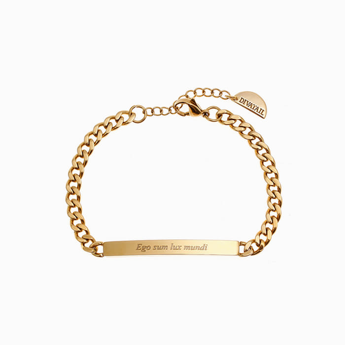 [각인팔찌]Lettering Thin Gold Chain Bracelet