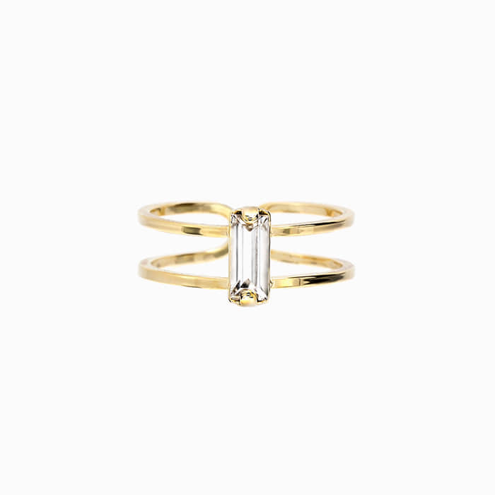 Crystal Stick Gold Ring