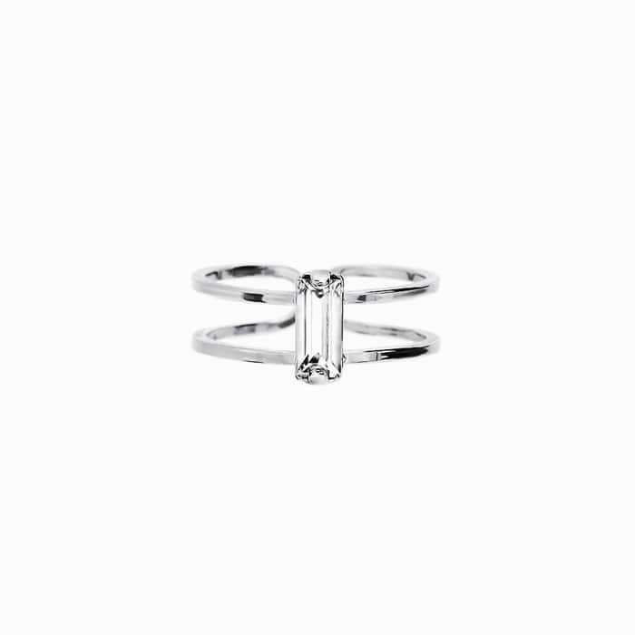 Crystal Stick Silver Ring