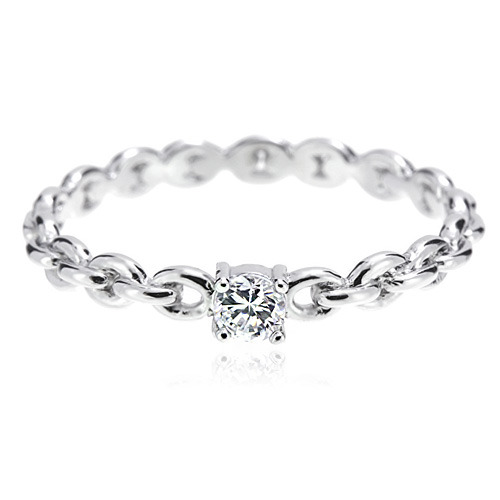 Silver CZ Simple Chain Ring