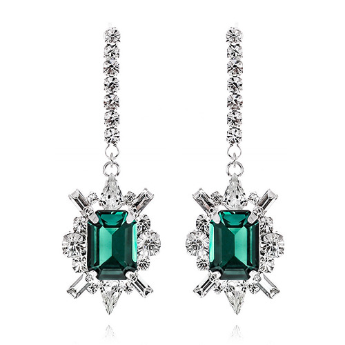 Shiny Emerald Crystal Long Earring