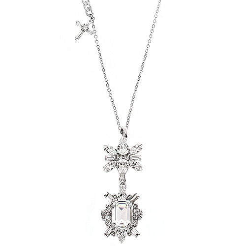 [롱목걸이]DS Crystal Cross Long Necklace