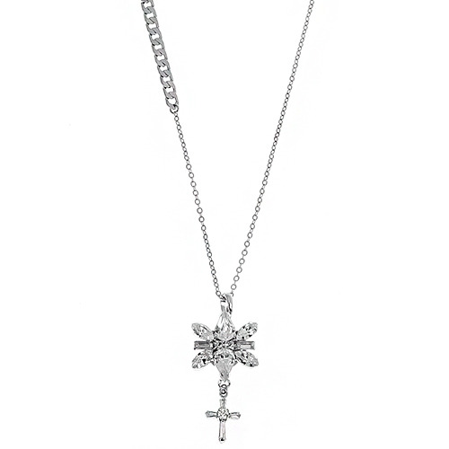 [롱목걸이]Decalcomanie Crystal Cross Long Necklace