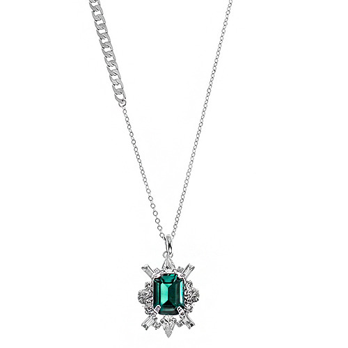 [롱목걸이]Shiny Emerald Crystal Long Necklace