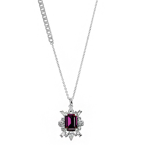 [롱목걸이]Shiny Amethyst Crystal Long Necklace