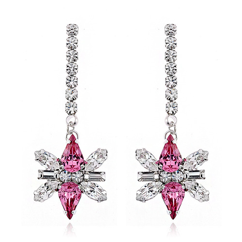 Rose Decalcomanie Crystal Long Earring