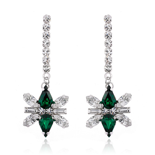Emerald Decalcomanie Crystal Long Earring