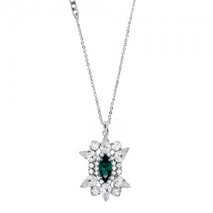 [롱목걸이]Crystal Sunburst Emerald Necklace