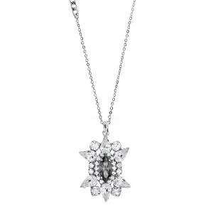 [롱목걸이]Crystal Sunburst Gray Necklace
