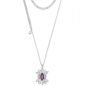 [롱목걸이]Crystal Sunburst Amethyst layered Necklace