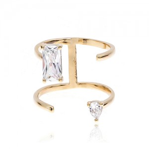 Four lines Gold CZ Ring