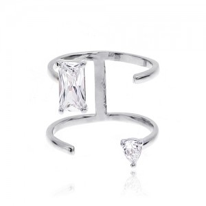Four lines Silver CZ Ring