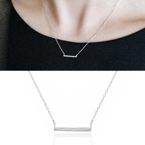 [925 Silver]Basic bar Necklace