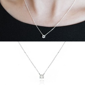 [925 Silver]Basic CZ Necklace