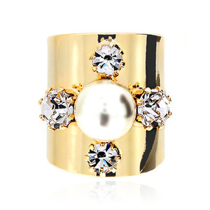 Cross Crystal Pearl Gold Smooth Ring