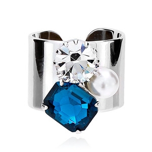 Blue Crystal Pearl Silver Smooth Ring