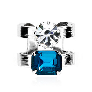 Blue Crystal Two Line Ring