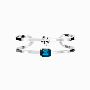 Blue Crystal Two Line Bangle