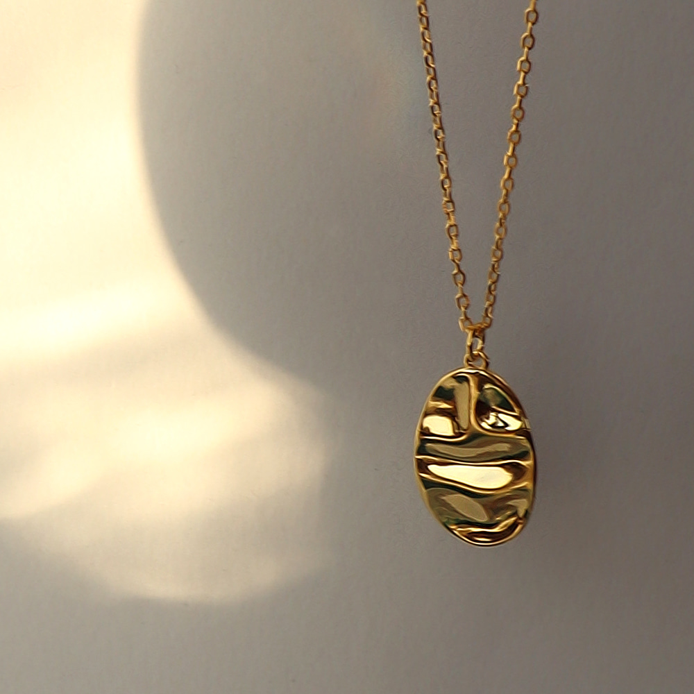 [925Silver] Wave Oval Necklace(svn703)