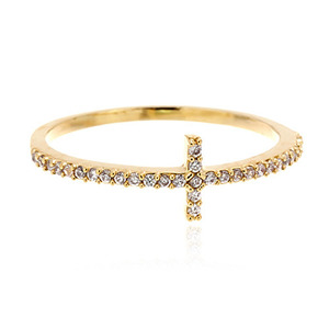 Gold Cross CZ Ring
