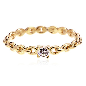 Gold CZ Simple Chain Ring