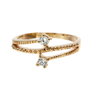Gold Shining CZ Layered Ring