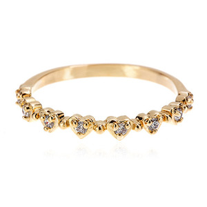Gold CZ Heart Heart Heart Ring