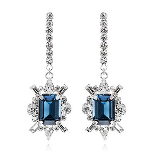 Shiny Montana Crystal Long Earring
