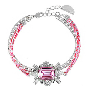 [소원팔찌]Shiny Light Rose Crystal Misanga Bracelet