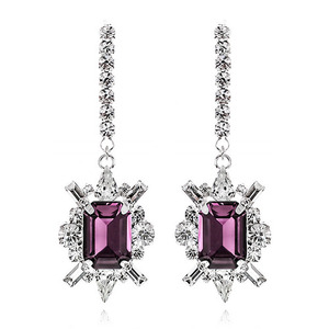 Shiny Purple Crystal Long Earring
