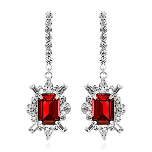 Shiny Ruby Crystal Long Earring