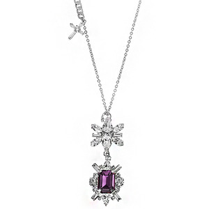 [롱목걸이]Amethyst DS Crystal Cross Long Necklace