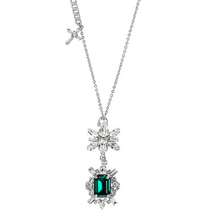 [롱목걸이]Emerald DS Crystal Cross Long Necklace