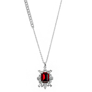 [롱목걸이]Shiny Ruby Crystal Long Necklace